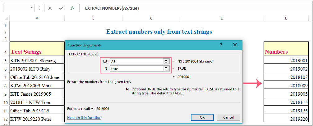 How to extract number only from text string in Excel?