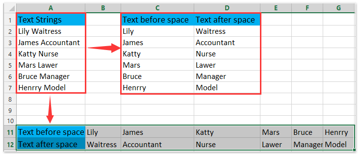 How to extract text before/after space or comma only in Excel?