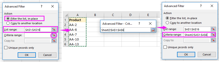 How to filter rows based on a list selection in another sheet?