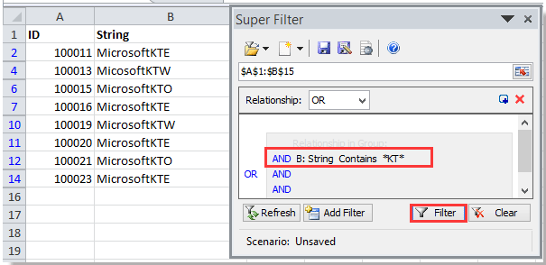 doc kte filter by substring 4