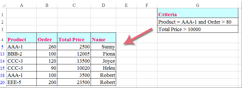 How to filter multiple columns simultaneously in Excel?