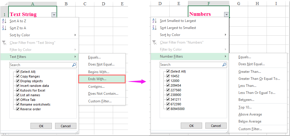 How to filter numbers end with a specific number in Excel?
