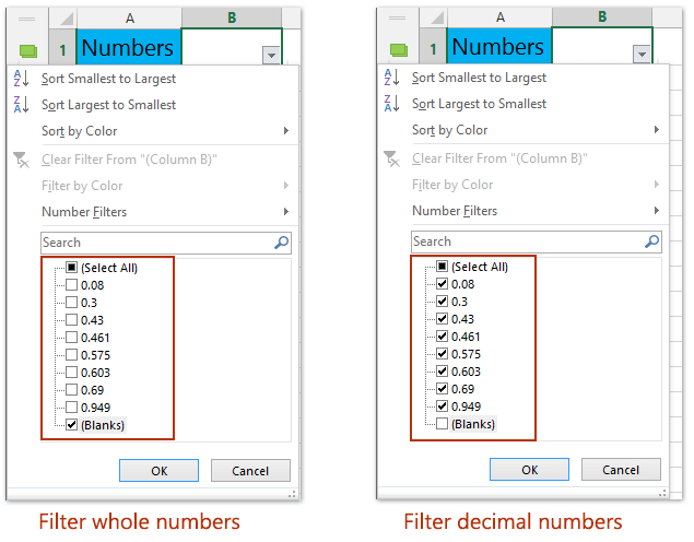 How to filter only integers (whole numbers) or decimal