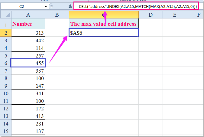 doc find cell address min max 2