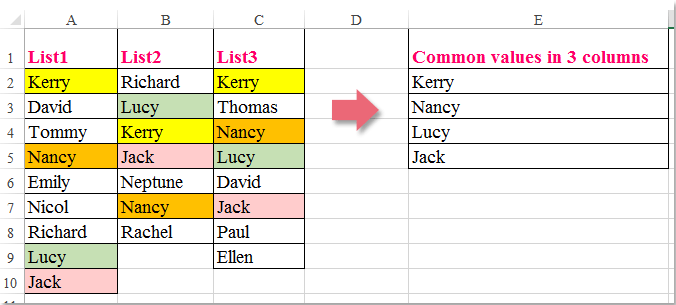 doc common values in 3 columns 1