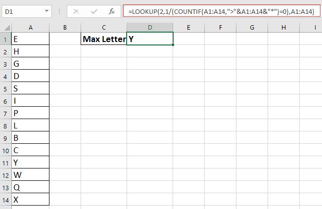 doc find max letter 1
