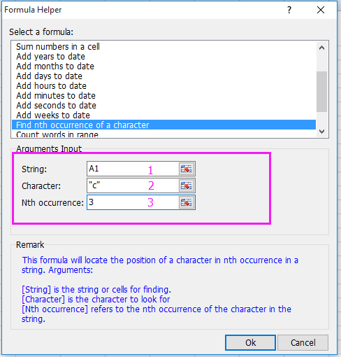 doc find position of text string 4