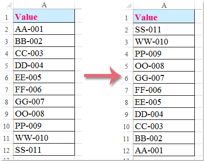How to flip / reverse a column of data order vertically in