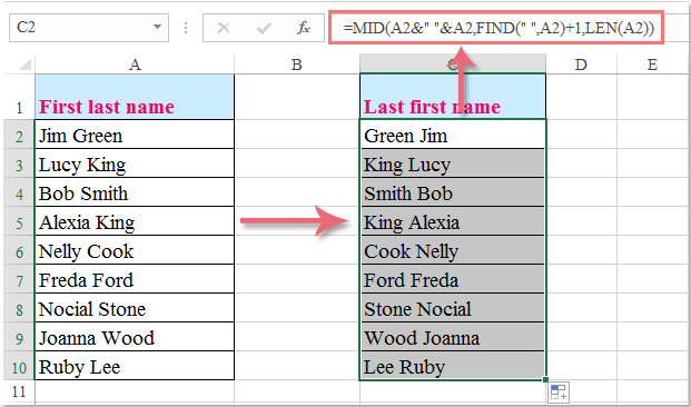 Last Names: How To Flip The First And Last Name In Cells In Excel?