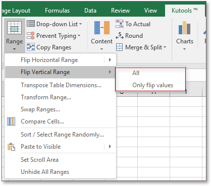 excel add in tool for reversing rows data vertically