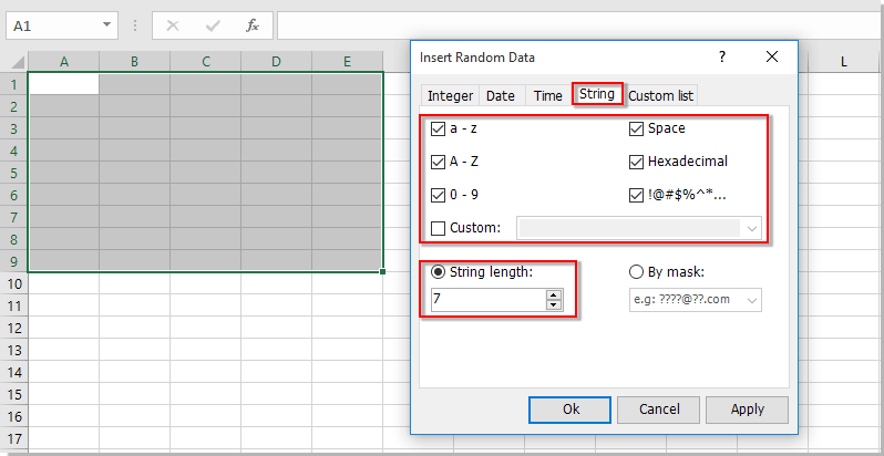 How to generate random character strings in a range in Excel?