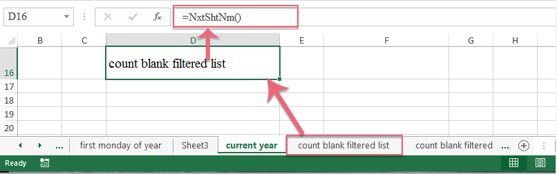 How to get the next sheet name in Excel workbook?