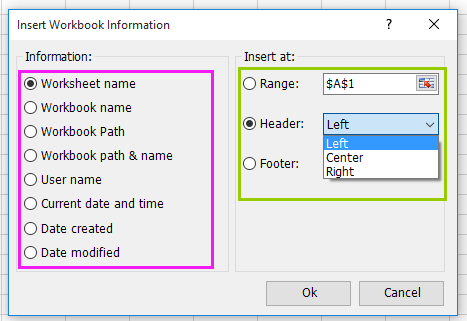doc insert workbook information