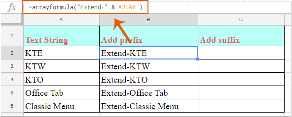 How to add prefix or suffix into cell values in Google sheets?