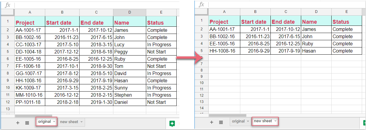 How to copy row to another sheet based on cell value in