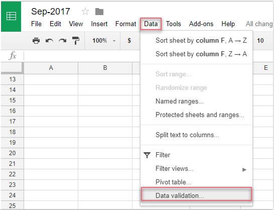 How to create a dependent drop down list in Google sheet?