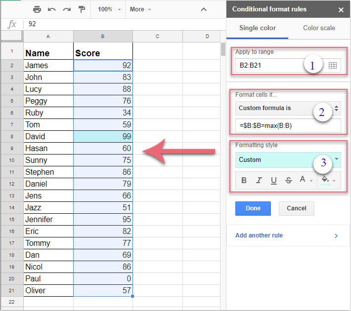 How to highlight or conditional formatting the max or min value in