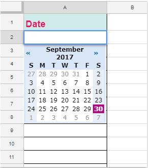 How to insert date picker in Google sheet?