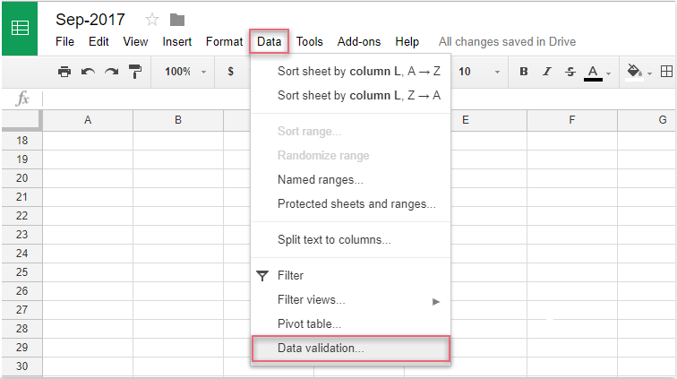 How to insert drop down list in Google sheet?