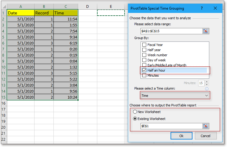 doc group by half hour pivottable 7