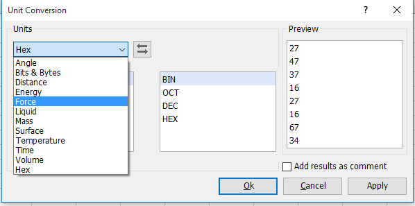 How to convert hex number to decimal number in Excel?