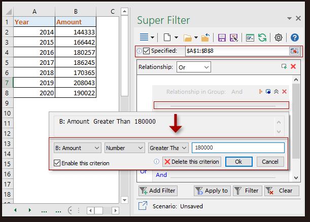 kutools super filter 2