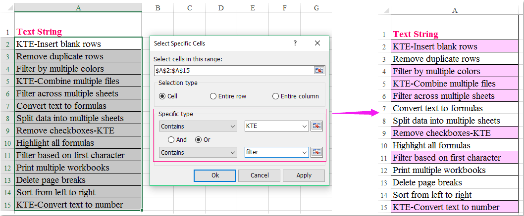How to apply conditional formatting search for multiple