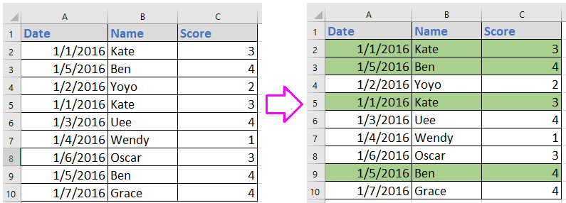 doc highlight duplicate across columns 1