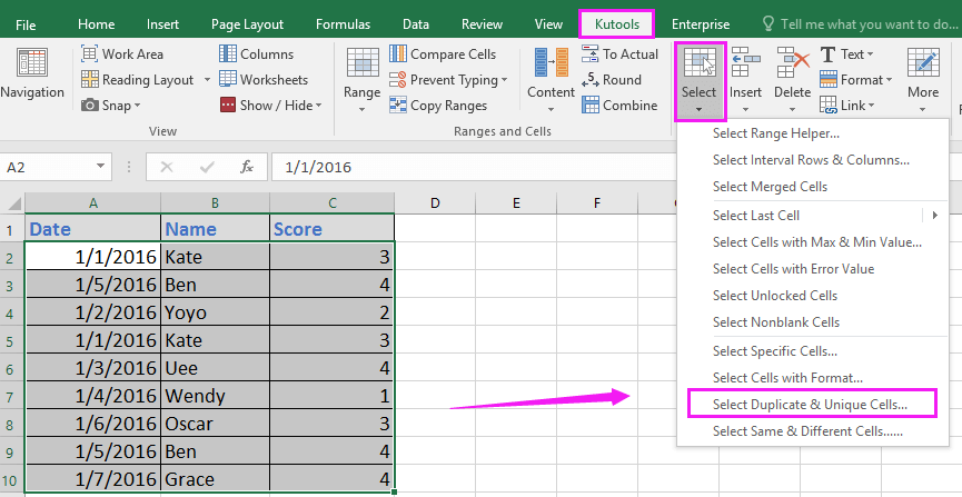 doc highlight duplicate across columns 5