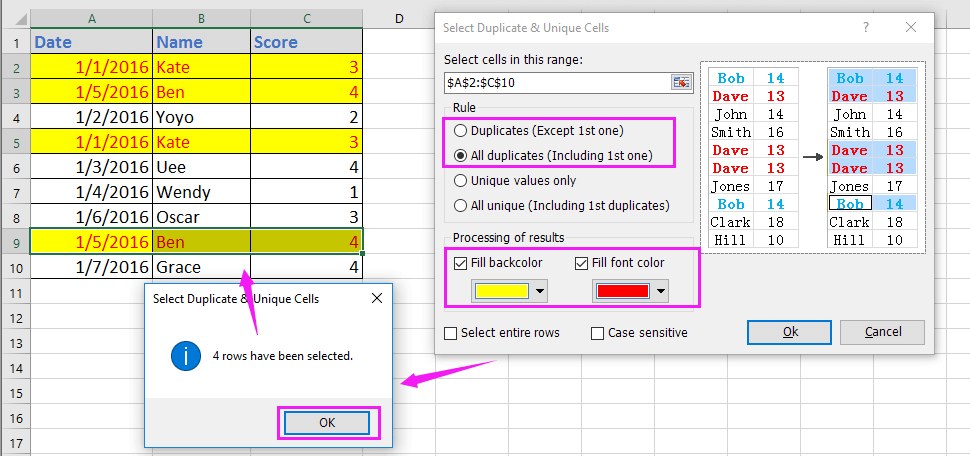 doc highlight duplicate across columns 6