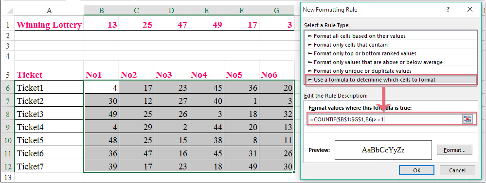 How to highlight winning lottery numbers in Excel worksheet?