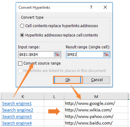 doc replace cell contents with hyperlink
