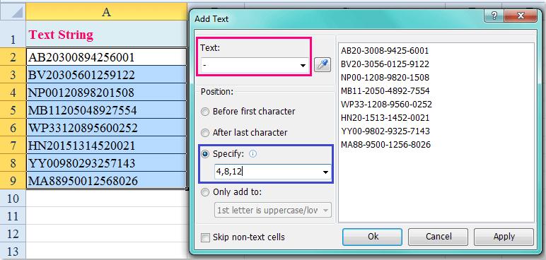 doc insérer chaque caractère x 8
