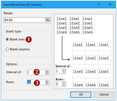 How to quickly insert multiple blank rows or columns in