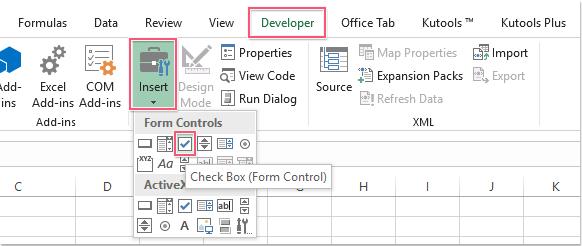 Wie schnell mehrere Kontrollkästchen in Excel einfügen?
