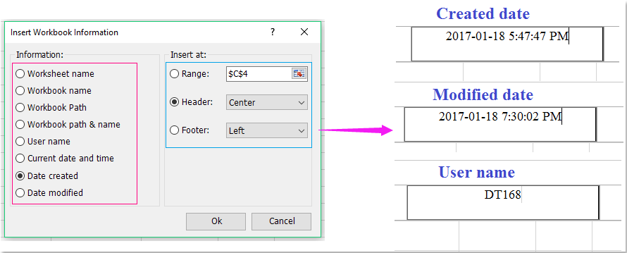 How to insert page number into cell / header / footer in Excel?