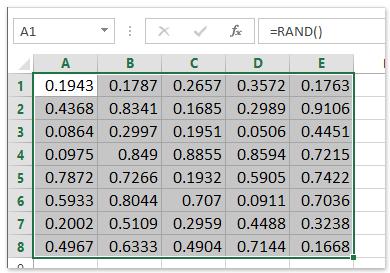 random numbers between 0 and 1