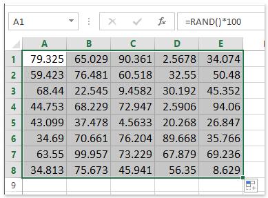 random numbers between 0 and 100