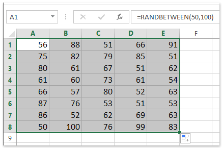 random integer numbers between 50 and 100