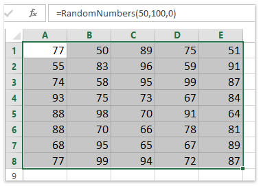 random integer numbers between 50 and 100