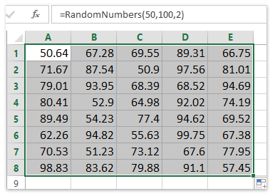 random numbers between 50 and 500 with 2 decimal places
