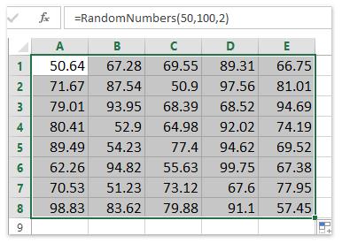 أرقام عشوائية بين شنومكس و شنومكس مع شنومكس المنازل العشرية