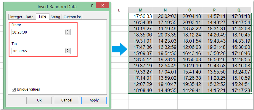 How to quickly generate random time in Excel?