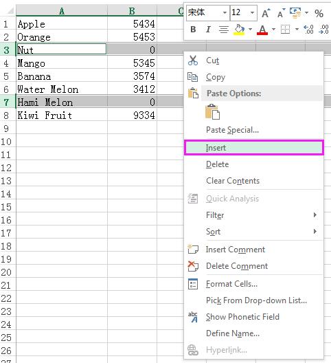 doc insert row basé sur la valeur 7