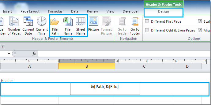How to insert file name or path into cell / header or footer