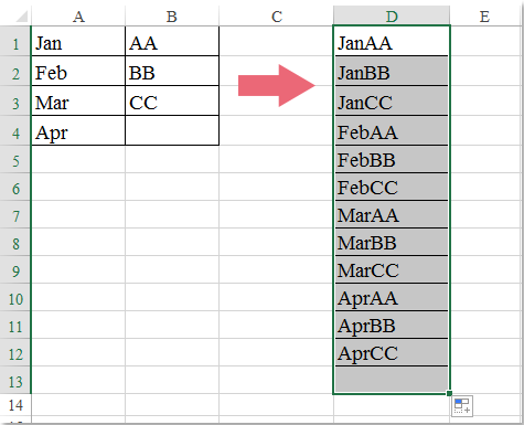 How to list or generate all possible combinations in Excel?