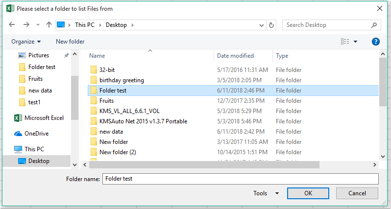 How to list all file names from a folder and sub-folders into a