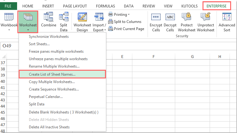 How to create and list all worksheet names from a workbook?