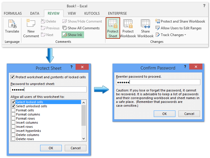 how to protect cell range in excel 2007
