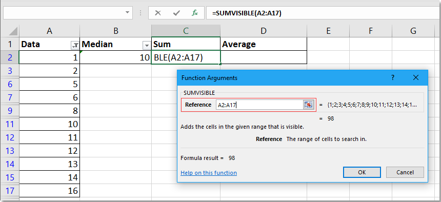 doc calculate median in visible cells 3